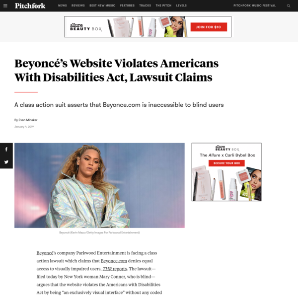 Beyoncé's Website Violates Americans With Disabilities Act, Lawsuit Claims