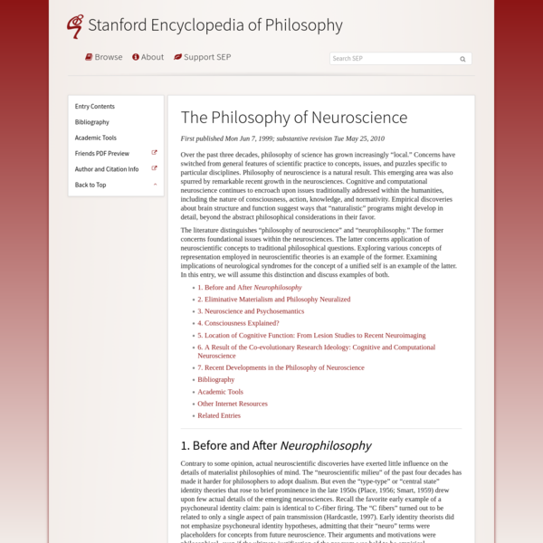 The Philosophy of Neuroscience (Stanford Encyclopedia of Philosophy)