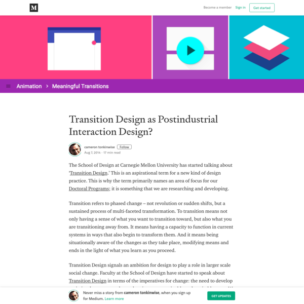 Transition Design as Postindustrial Interaction Design?