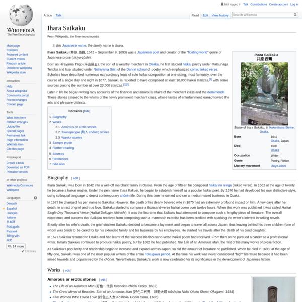 Ihara Saikaku - Wikipedia
