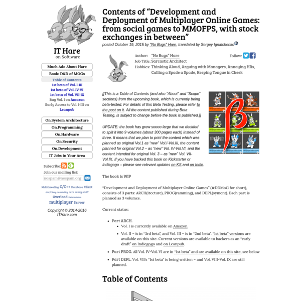 "Contents of ""Development and Deployment of Multiplayer Online Games: from social games to MMOFPS, with stock exchanges in be..."