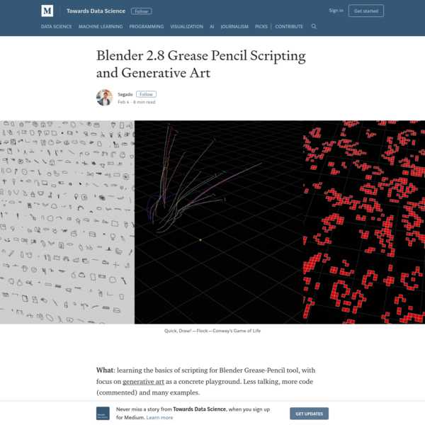Blender 2.8 Grease Pencil Scripting and Generative Art