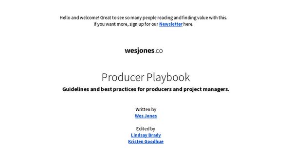 Producer Playbook