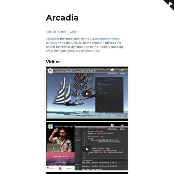 Arcadia, Clojure in Unity3D
