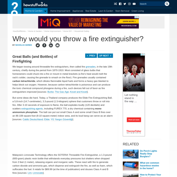 Why would you throw a fire extinguisher?
