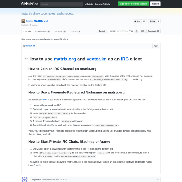How to use matrix.org and vector.im as an IRC client