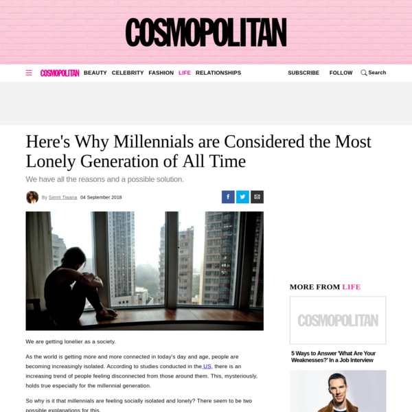 Here's Why Millennials are Considered the Most Lonely Generation of All Time
