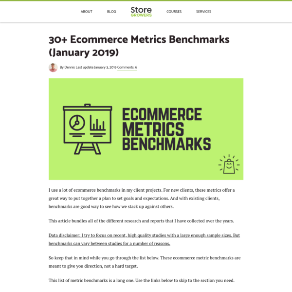30+ Ecommerce Metrics Benchmarks (January 2019) - Store Growers