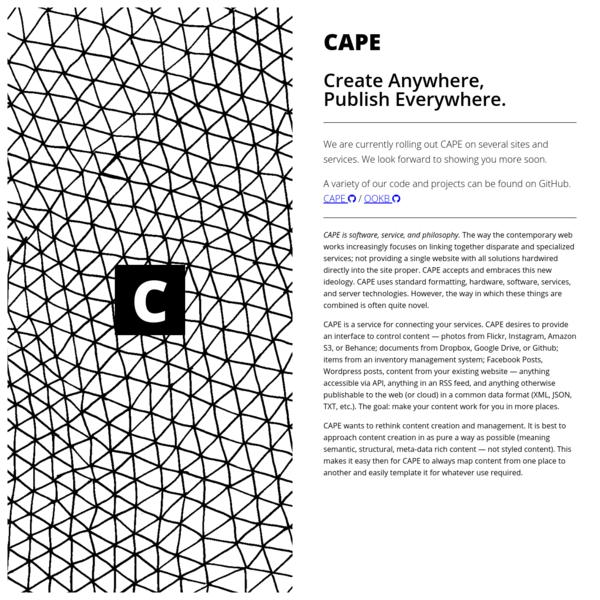 CAPE - Create Anywhere, Publish Everywhere.