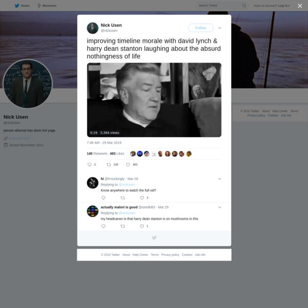 Nick Usen on Twitter