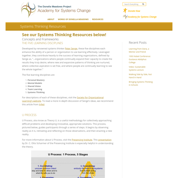 Systems Thinking Resources - The Donella Meadows Project