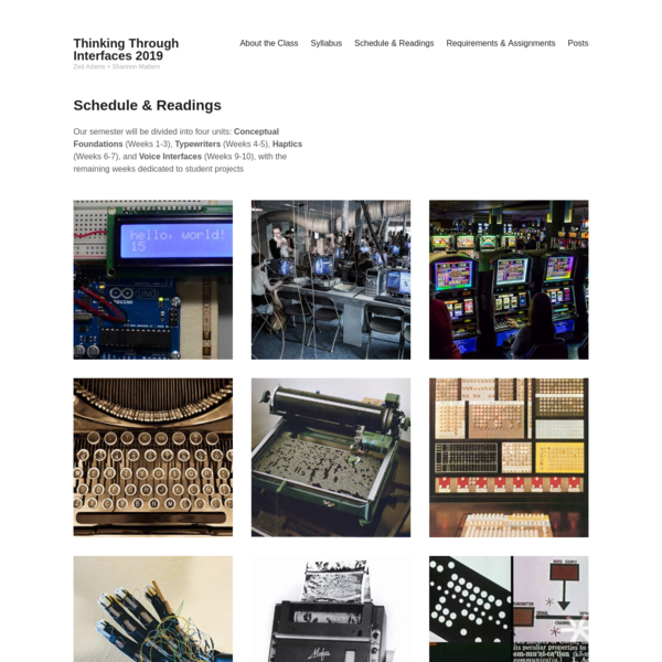 Thinking Through Interfaces 2019 - Zed Adams + Shannon Mattern
