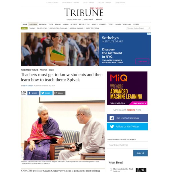 Teachers must get to know students and then learn how to teach them: Spivak | The Express Tribune