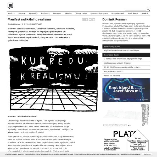 Manifest radikálního realismu - Artalk.cz