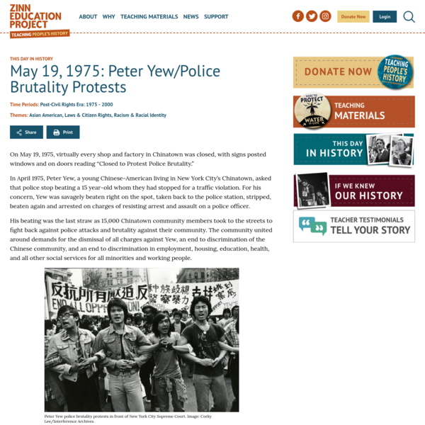 May 19, 1975: Peter Yew/Police Brutality Protests - Zinn Education Project