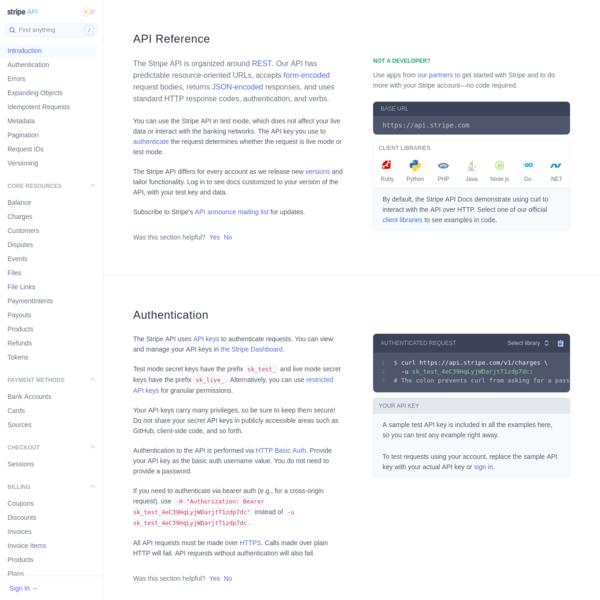 Stripe API Reference