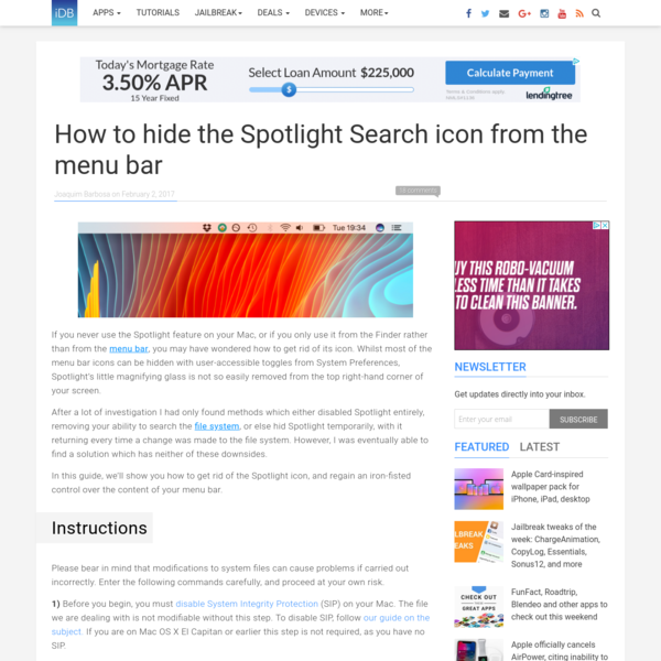 How to hide the Spotlight Search icon from the menu bar