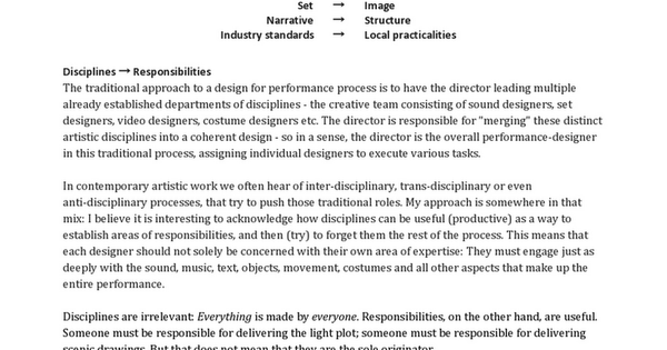 A → B list for Design and Performance Process