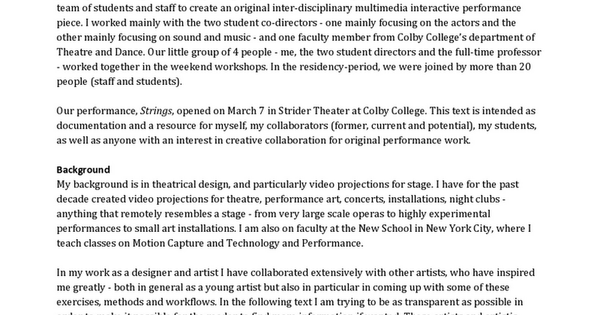 Collaborative Creation Process For Strings at Colby College