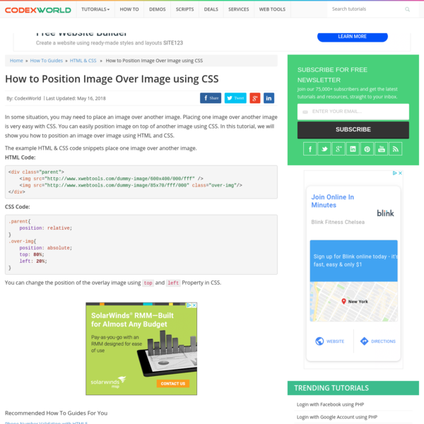 How to Position Image Over Image using CSS - CodexWorld
