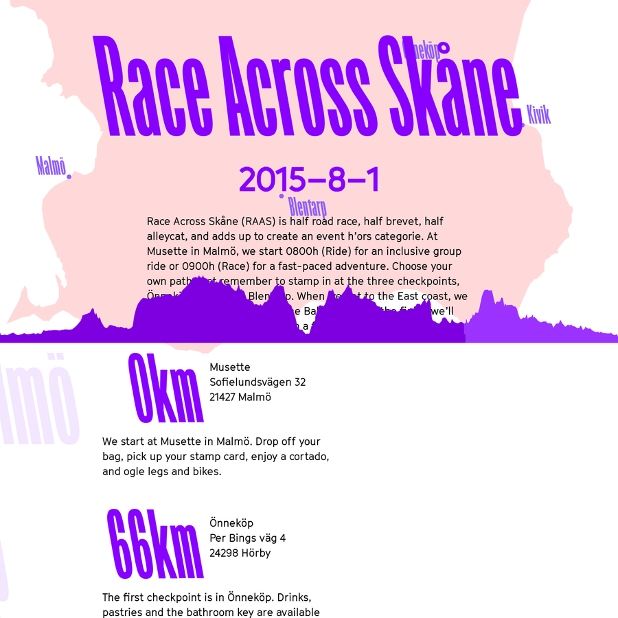 Race Across Skåne (RAAS) is half road race, half brevet, half alleycat, and adds up to create an event h'ors categorie.