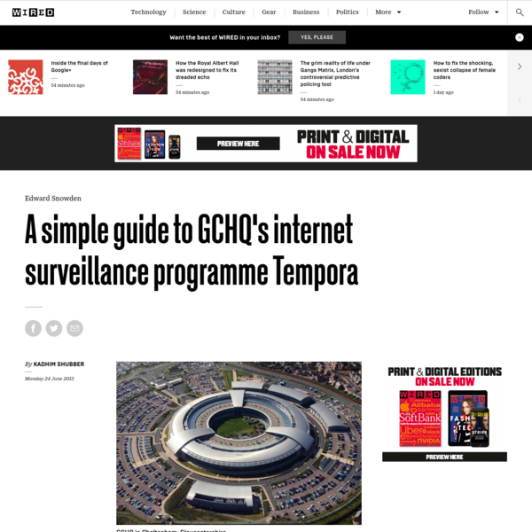 A simple guide to GCHQ's internet surveillance programme Tempora