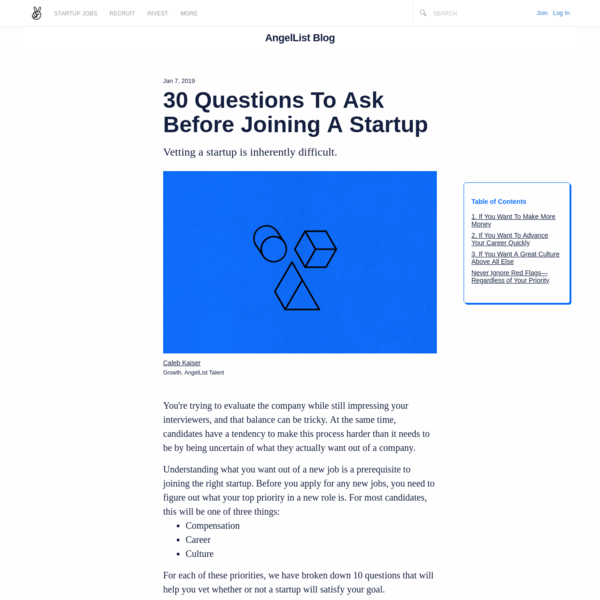30 Questions To Ask Before Joining A Startup