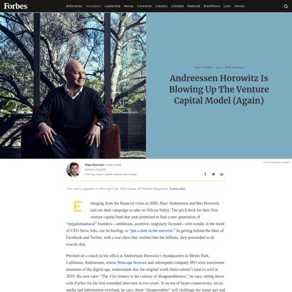 Andreessen Horowitz Is Blowing Up The Venture Capital Model (Again)