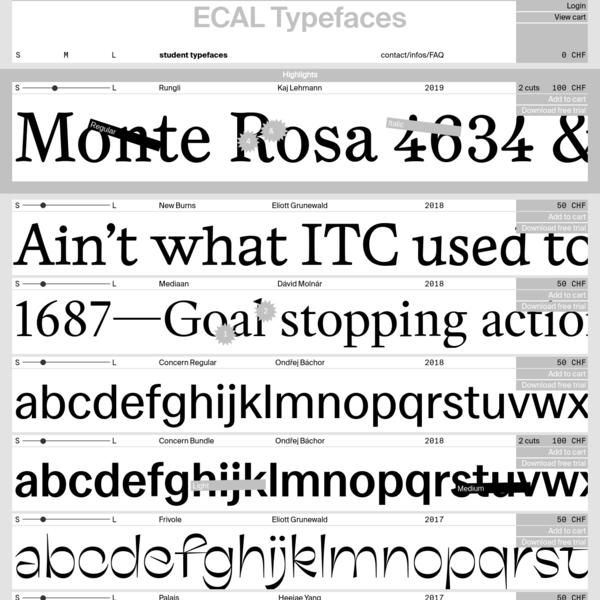 ECAL Typefaces