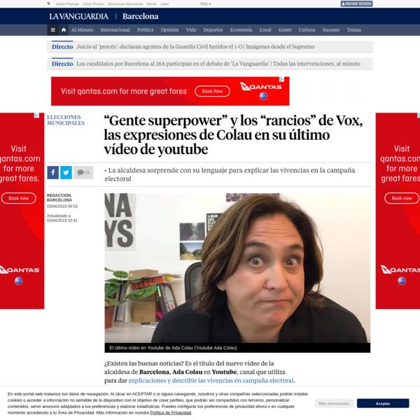La alcaldesa de Barcelona, Ada Colau, sorprende con su lenguaje en YouTube