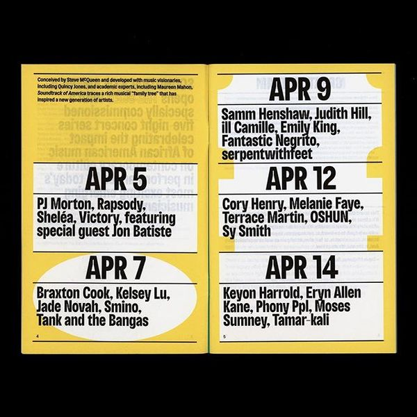 Program for Soundtrack of America, a five-night concert series opening The Shed (@theshedny) this Friday.