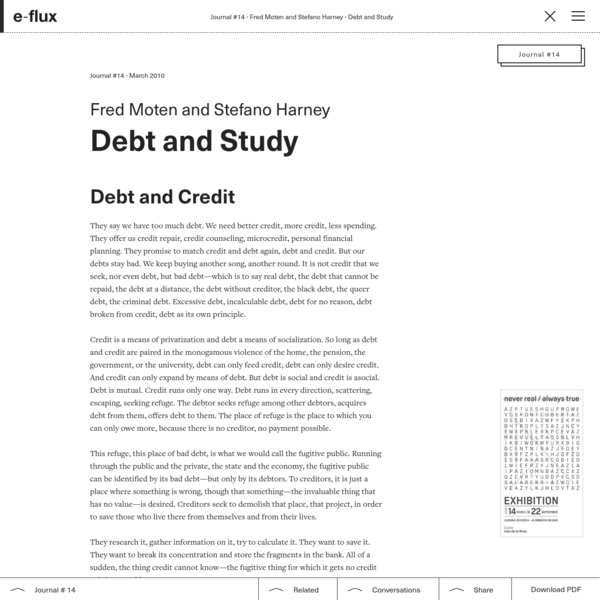 Debt and Study - Journal #14 March 2010 - e-flux