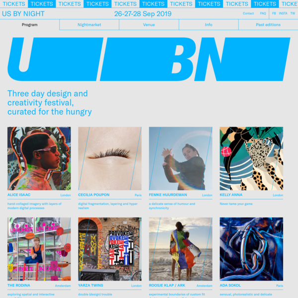 Us by Night - design & creativity festival - Antwerp - curated for the hungry