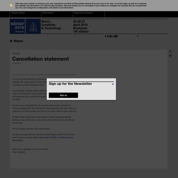 Cancellation statement - Sónar Reykjavík 2019