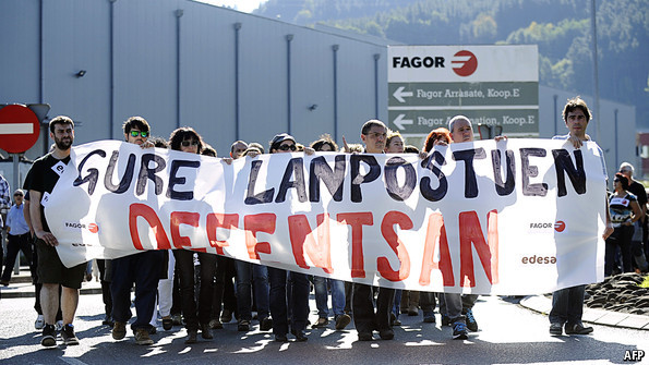 """""""In defence of our jobs"""", protest by workers at Fagor, part of the Mondragon Corporation"""