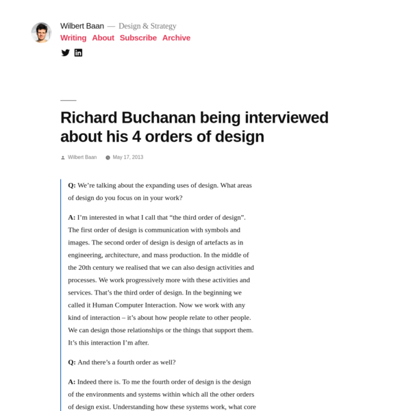 Richard Buchanan being interviewed about his 4 orders of design