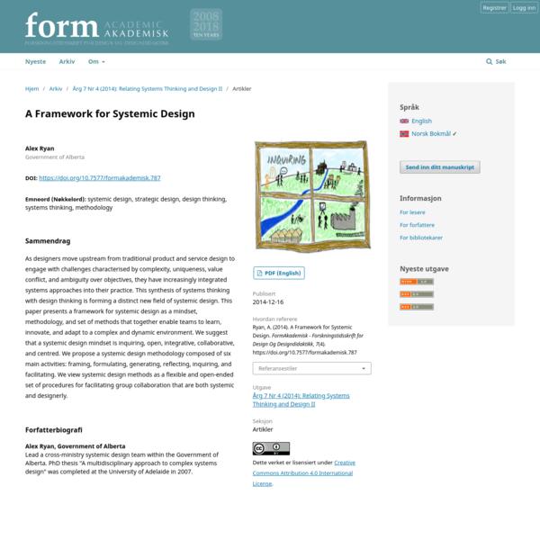 A Framework for Systemic Design | FormAkademisk - forskningstidsskrift for design og designdidaktikk