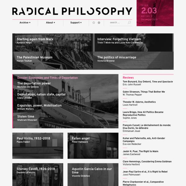 Radical Philosophy Issue 203 (December 2018)