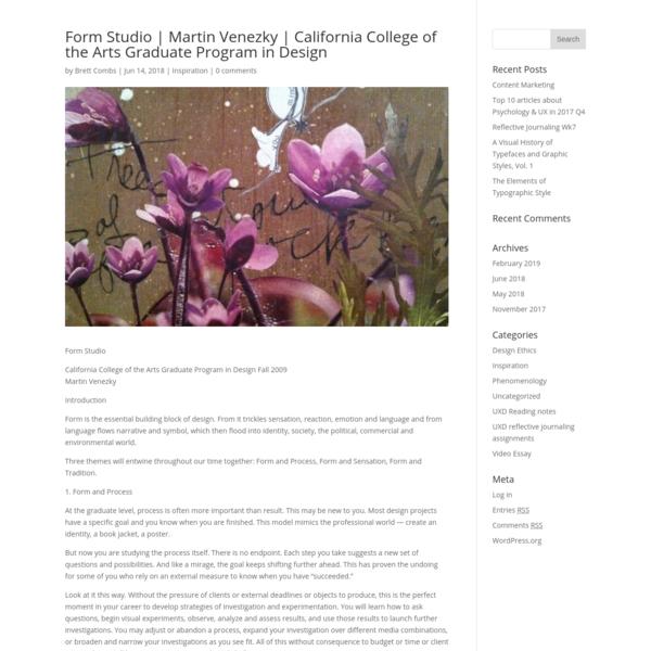 Form Studio | Martin Venezky | California College of the Arts Graduate Program in Design