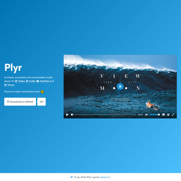 Plyr - A simple, customizable HTML5 Video, Audio, YouTube and Vimeo player
