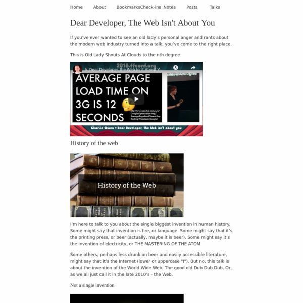 Dear Developer, The Web Isn't About You | sonniesedge