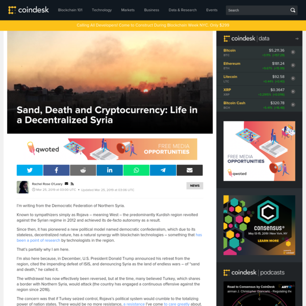 Sand, Death and Cryptocurrency: Life in a Decentralized Syria - CoinDesk