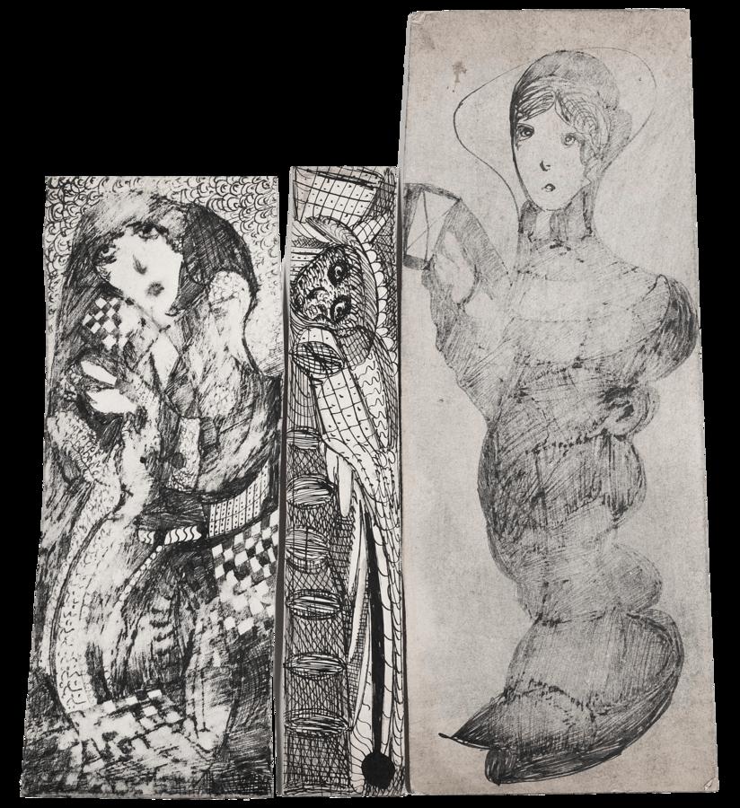 Madge Gill, Three Female Figures, 1940