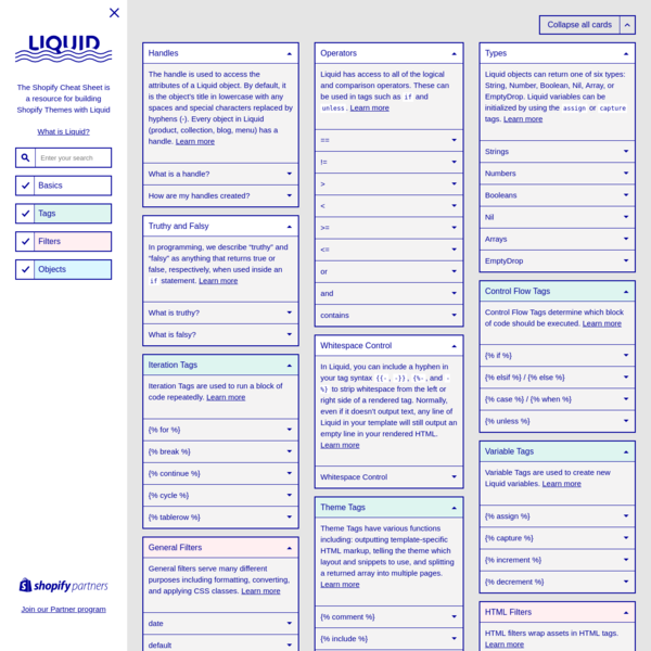 Shopify Cheat Sheet - A resource for building Shopify Themes with Liquid