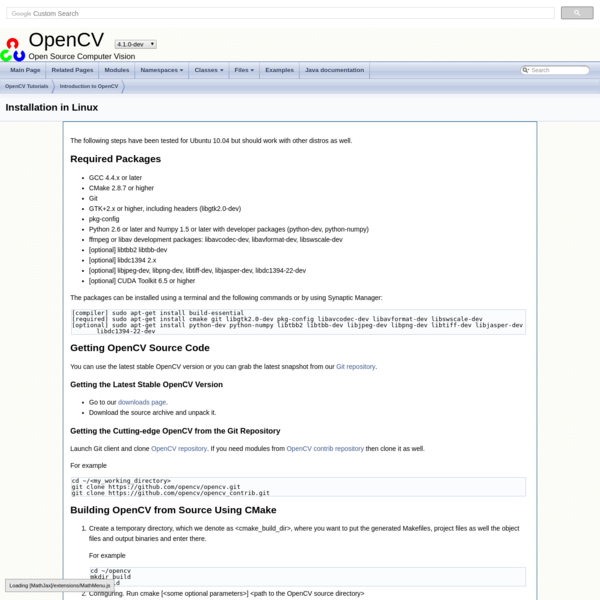 OpenCV: Installation in Linux