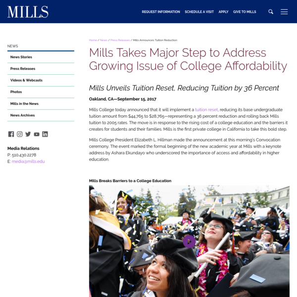 Mills Announces Tuition Reduction | Mills College