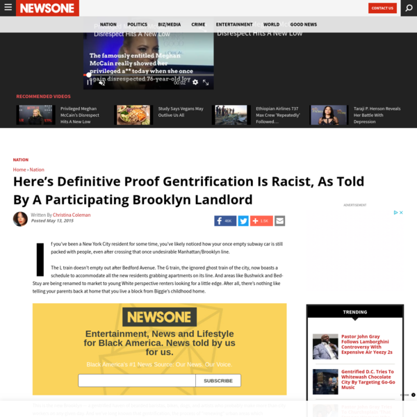 Here's Definitive Proof Gentrification Is Racist, As Told By A Participating Brooklyn Landlord – News One