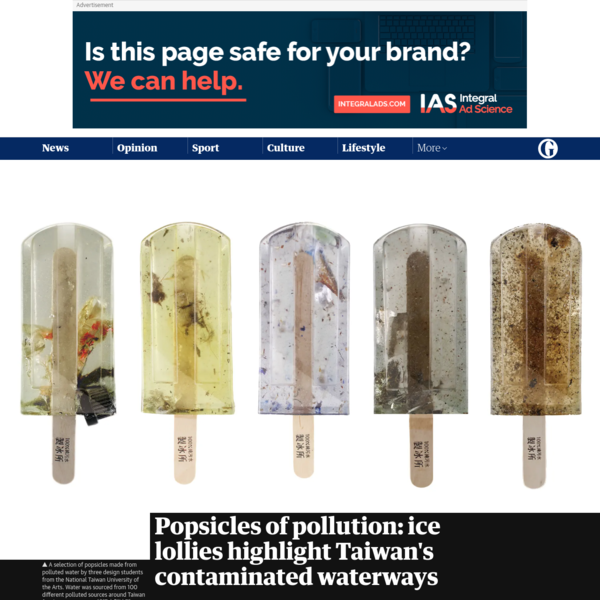 Popsicles of pollution: ice lollies highlight Taiwan's contaminated waterways