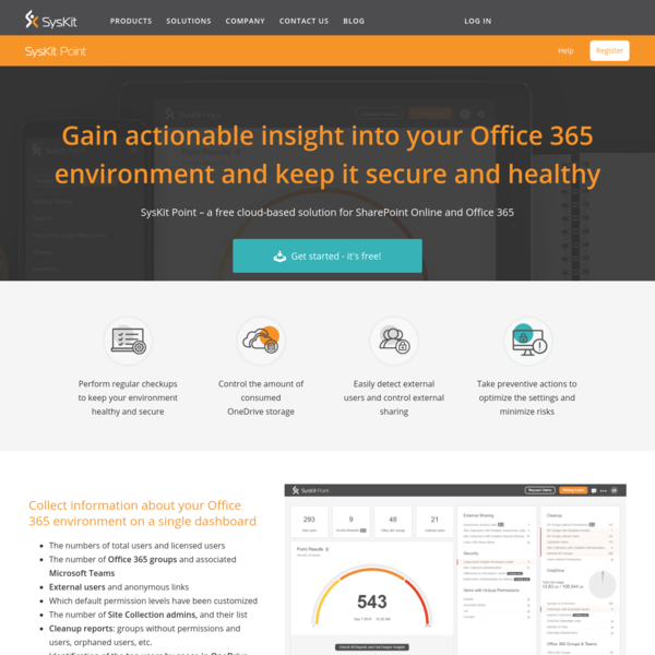 Office 365 health and security overview | Free Tool | SysKit