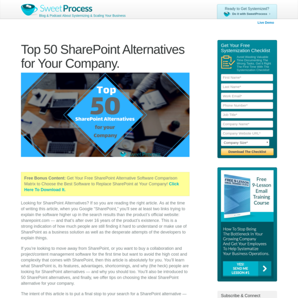 Top 50 SharePoint Alternatives for Your Company. - SweetProcess